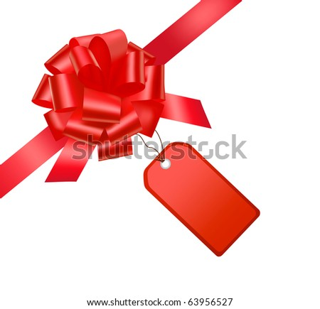 RÂ?ed bow with card. Vector illustration. - stock vector