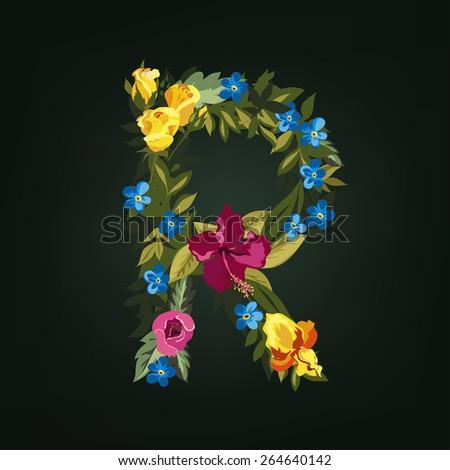 R letter. Flower capital alphabet. Colorful font. Uppercase.  Vector illustration. - stock vector