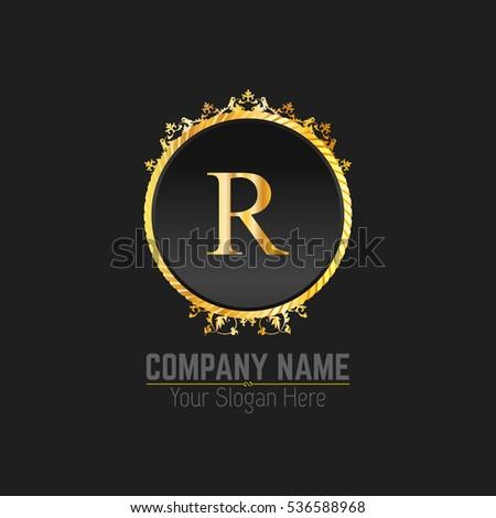 R Letter Logo Golden Monogram Design Elements Line Art Beautiful Boutique