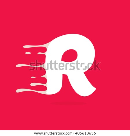 R letter logo made of milk. Vector design template elements for your poster or corporate identity. - stock vector