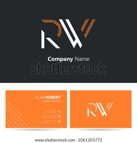 R w joint logo stroke letter stock vector royalty free 1061203772 r w joint logo stroke letter design with business card template reheart Images