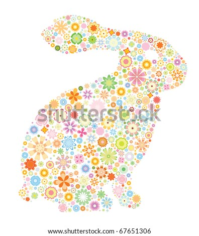 Rabbit-abstract rabbit with small flowers - stock vector