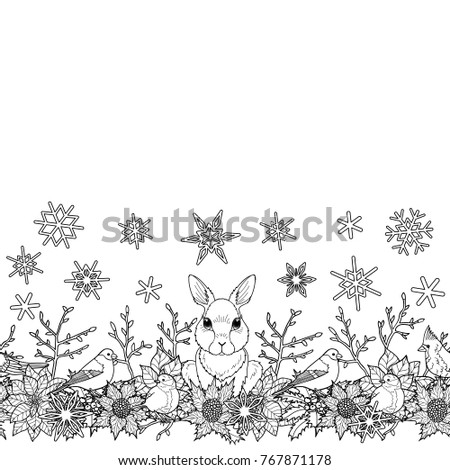 rabbit and bird seamless horizon border winter square new year black and white wallpaper for