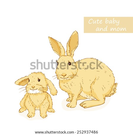 Rabbit and bunny. Cute animals family with mom and baby. Vector illustration - stock vector