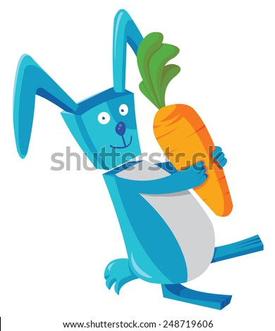 rabbit and carrot - stock vector