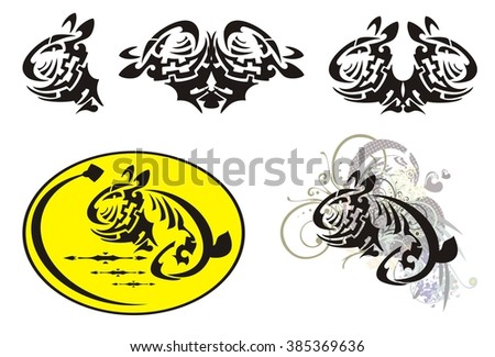 Rabbit and egg - Easter symbols in tribal style. The decorative stylized baby rabbit head, decorative yellow Easter egg and rabbit in a retro style with floral elements - stock vector