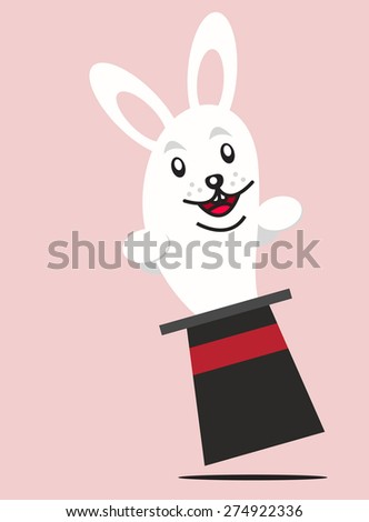 Rabbit and Magician Hat - stock vector