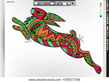 Rabbit .Animal patterns with hand-drawn doodle waves and lines. Vector illustration in bright colors.