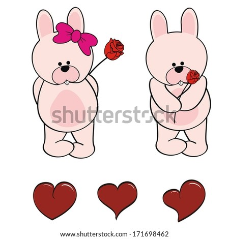 rabbit baby cute cartoon set
