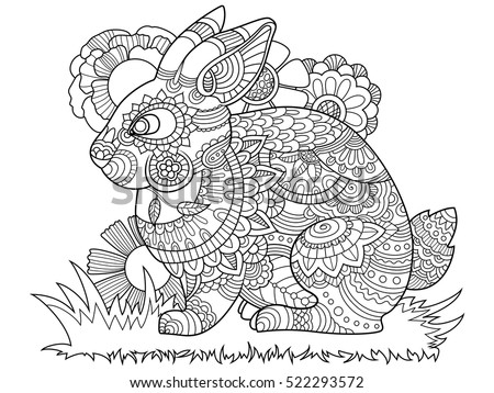 rabbit bunny coloring book for adults vector illustration anti stress coloring for adult - Coloring Book For Adults