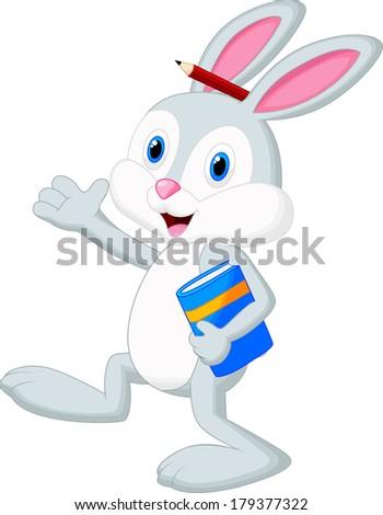 Rabbit cartoon holding book - stock vector