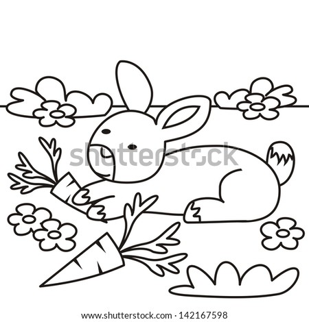 Rabbit Coloring Book Vector Icon Stock 142167598
