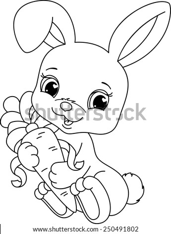 Rabbit coloring page - stock vector