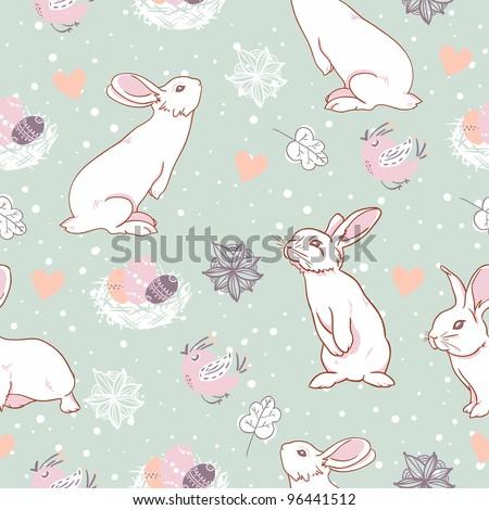 Rabbit easter seamless pattern - stock vector