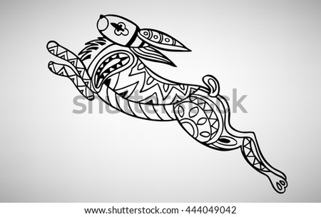 Rabbit. Hand-drawn with ethnic pattern. Coloring page - isolated on a white background. Zendoodle patterns. Vector illustration.