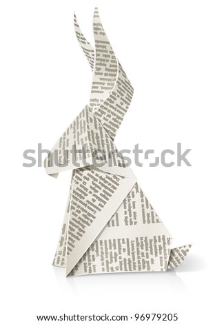 rabbit paper origami toy vector illustration isolated on white background EPS10. Transparent objects used for shadows and lights drawing - stock vector