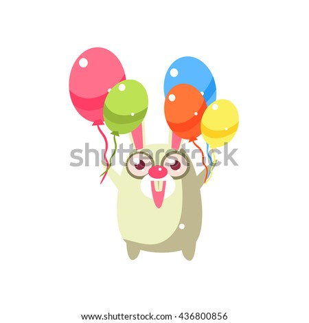 Rabbit Party Animal Icon In Primitive Funny Flat Cartoon Style Isolated On White Background - stock vector