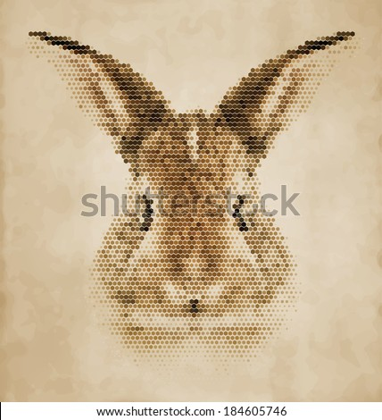 Rabbit portrait made of geometrical shapes - Vintage Design - stock vector