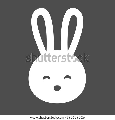 Rabbit Head Silhouette Vector