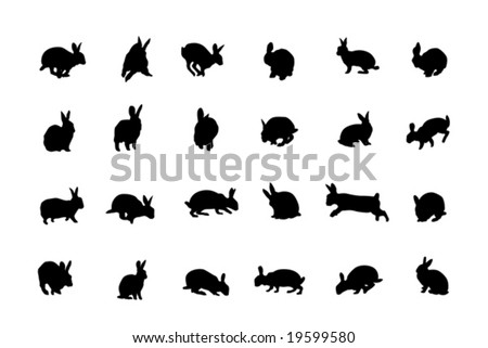 rabbit silhouettes, collection for designers - stock vector