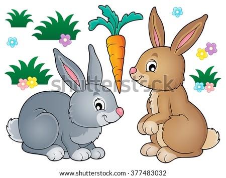 Rabbit topic image 1 - eps10 vector illustration. - stock vector