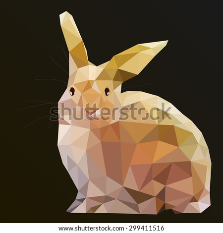 Rabbit vector art. Low Poly Hare Rabbit vector art from my Wild Life low poly series. 3d imitation design. - stock vector