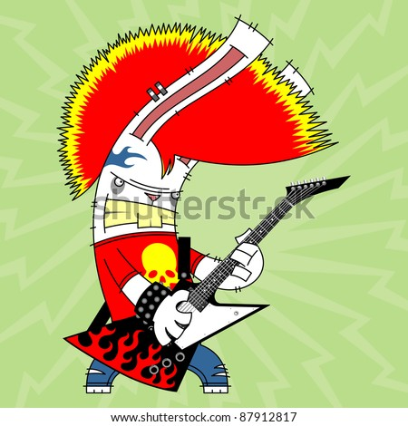 rabbit with a red mohawk playing the electric guitar on green background - stock vector