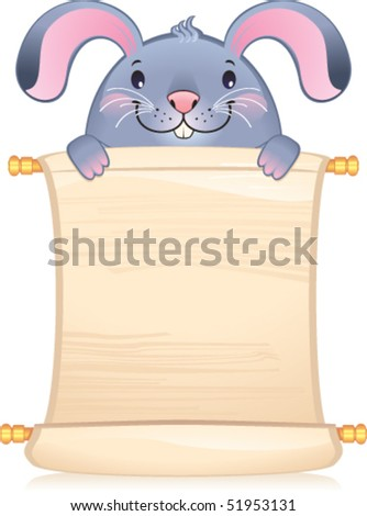 Rabbit with scroll - symbol of Chinese horoscope - stock vector