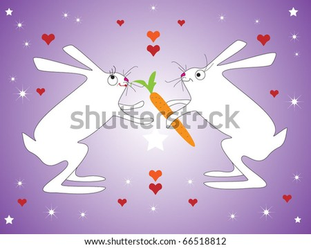 Rabbits lovers - stock vector
