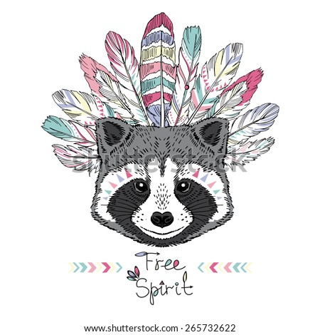 raccoon aztec style, hand drawn animal illustration, native american poster, t-shirt design - stock vector