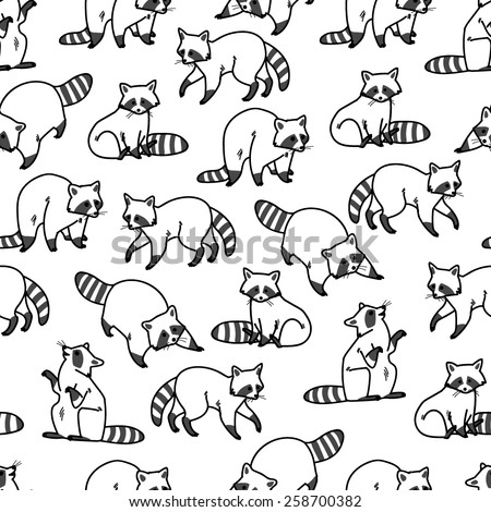 Raccoon black-white seamless pattern - stock vector