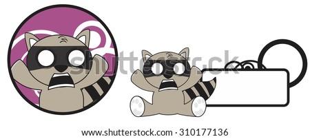 raccoon cartoon copyspace in vector format, very easy to edit  - stock vector