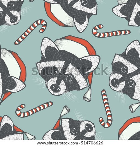 Raccoon vector seamless pattern illustration. Raccoons head with santa hat