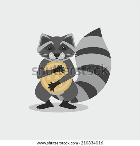 Raccoon with cookies in the legs, vector - stock vector