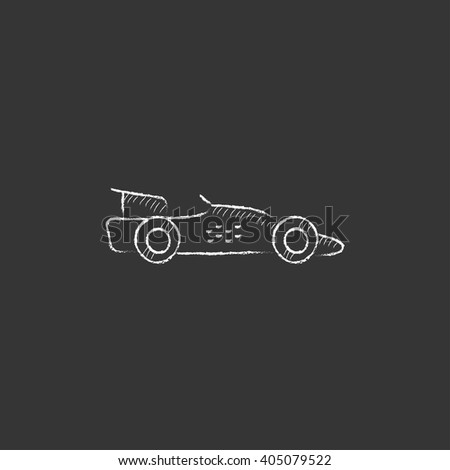 Race car. Drawn in chalk icon. - stock vector