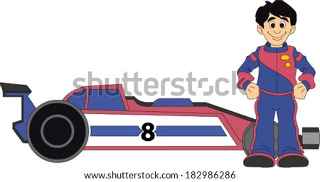 Race Car Driver Standing Next to Car - stock vector