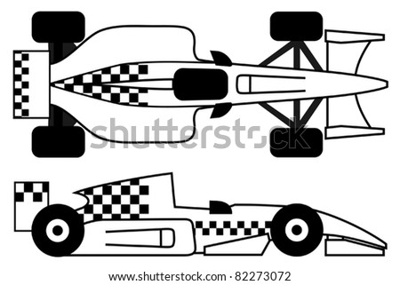 Race car with checkered design