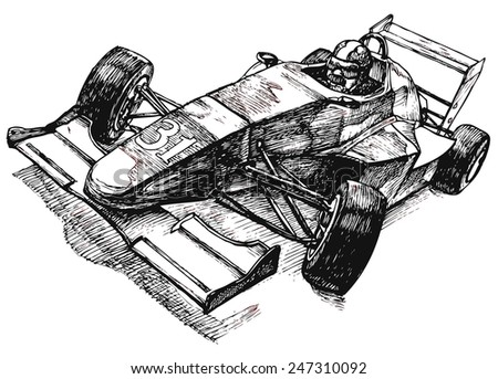 Race car with racer, old school racing, vector illustration stylized as engraving - stock vector