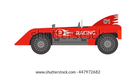 Race retro sport car. Supercar tuning retro sport car and flat style vector retro sport car illustration isolated on white background. Retro sport car vehicle automobile classic transport design. - stock vector