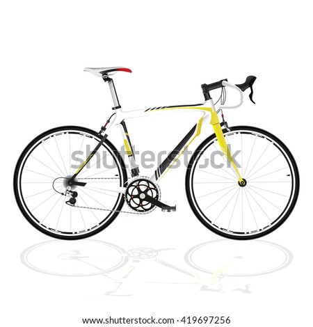race road bike isolated bicycle on white, fixed gear