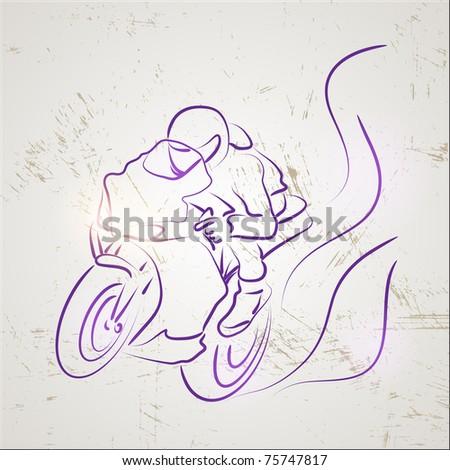 racer motorcycle - stock vector