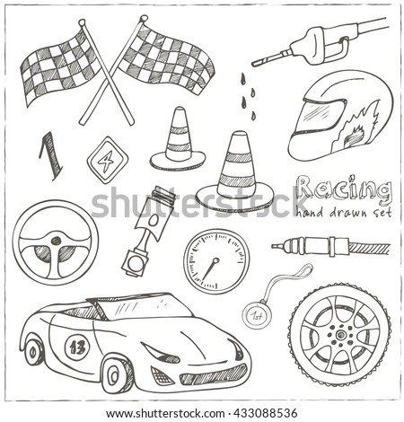 Racing auto items sketch icons hand drawn vector set with racing flags first place prize cup medal sport car isolated vector illustratio - stock vector