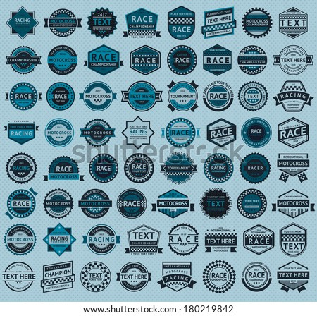 Racing badges - big blue set, vintage style, vector illustration - stock vector