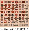 Racing badges - vintage style, big set, vector illustration - stock vector