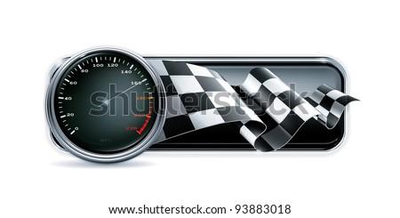 Racing banner with speedometer, vector - stock vector