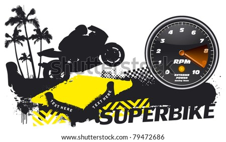 racing banner with super bike and tachometer - stock vector