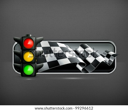 Racing banner with traffic lights, vector - stock vector