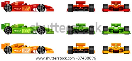 Racing bolides set (side, front and back) (Set #43)   - stock vector