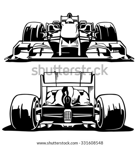 Racing Car Formula 1 Front And Back View Engraving Vintage Vector Black Illustration Isolated