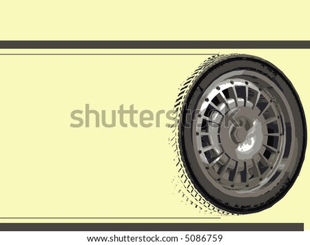 Racing Car Wheels on Yellow with copyspace - stock vector